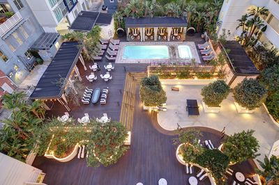 Overhead View of Hotel Shangri-La Outdoor Pool and Courtyard